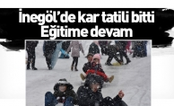 İnegöl'de kar tatili bitti