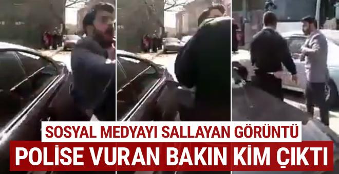 Sosyal medyayı sallayan görüntü! Polise tokat atan bakın kim çıktı