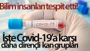 Bilim insanları, bazı kan gruplarının Covid-19'a karşı daha dirençli olduğunu tespit etti