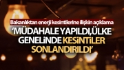 Ülke genelinde elektrik kesintileri sonlandırıldı